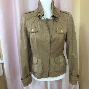 WHBM tan ruffle collar jacket. EUC!! Size 4